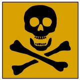 Danger Sign. An illustration of a skull & bones on a yellow background, depicting danger Stock Images