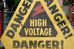 Danger - Sign. High Voltage stock photos