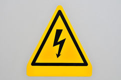 Danger sign. Electric danger sign on the wall Royalty Free Stock Image