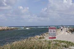 Danger Sign. Along the seawall at South Inlet Park Boca Raton Florida Stock Photo