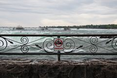 Danger Sign At Niagara Falls Stock Photo