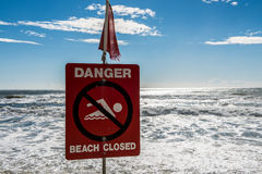 Danger beach closed Stock Photography