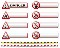 Danger sign banner. Isolated  Danger sign banner collection with reflection and shadow on white background for your text Stock Photo