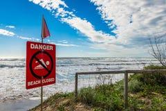 Danger beach closed Stock Photos