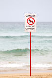Danger Sign on the Beach Stock Image