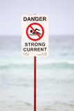 Danger Sign on the Beach Stock Photos