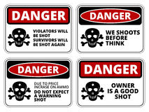 Danger. Sign - Beware of Owner. Humorous Comic Signs. Vector EPS8 set Royalty Free Stock Images