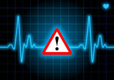 Danger sign on blue heart rate monitor. Expressing warning on heart condition - health hazard Stock Photos