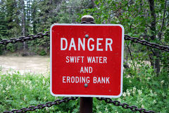 A danger sign at a campground. Royalty Free Stock Photos