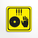 Danger sign. Circular saw. Vector icon. Royalty Free Stock Images