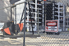 Danger sign on construction site Stock Photography