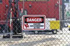 Danger sign on construction site Royalty Free Stock Photography