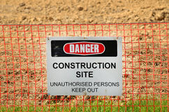 Danger sign. A danger sign at a construction site stock photo