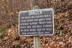 Danger Sign at Crabtree Falls in Virginia stock photos