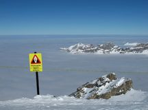 Danger sign crevasses on the Titlis Stock Photo