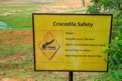 Danger sign - crocodiles. Beware of crocodiles. Caution plate alerting about dangerous predators in water royalty free stock photos