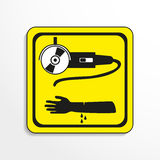 Danger sign. Cutting work. Vector icon. Stock Photo