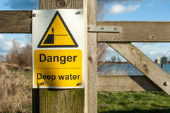 Danger sign for deep water Royalty Free Stock Photo