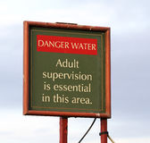 Danger sign for deep water. Stock Photos