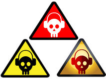 Danger sign DJ icons. A set of DJ skull icons on warning signs Royalty Free Stock Photo