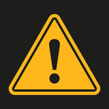 Danger sign. Exclamation point on a black background. Vector illustration Stock Photo