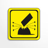 Danger sign. Falling objects. Vector icon. Royalty Free Stock Image