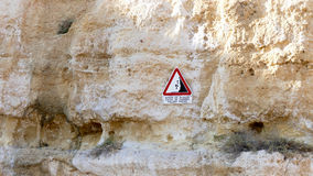 Danger Sign falling rocks Royalty Free Stock Images