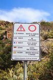 Danger sign on Filicudi trekking path. stock photography