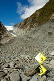 Danger sign, Fox Glacier Stock Images