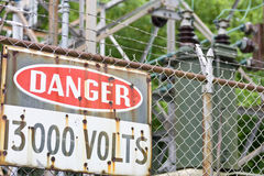 Danger sign in front of high voltage equipment Royalty Free Stock Photography