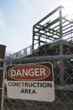 Danger sign at the construction area stock photos