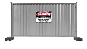 Danger sign on grey metal fence, unauthorized personnel keep out, isolated on white background. 3D rendering royalty free stock photography
