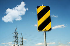 Danger sign. Hazard tag construction and street  danger sign in a power company yard Stock Photo