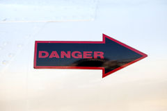 Danger Sign. On a helicopter , aeroplane Royalty Free Stock Image