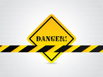 Danger sign with hexagon background Stock Photos