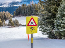 Danger sign for high speed on the Swiss Alps - 2 Stock Images