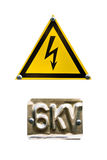 Danger sign high voltage on white Stock Photography