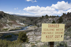 Danger sign at hot springs landscape in california Stock Photos