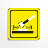 Danger sign. Impact of work. Dismantling. Vector icon. Stock Photo