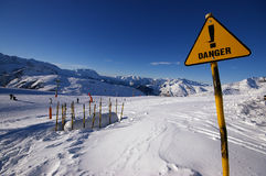 Free Danger Sign In Alps Avalanche Area Royalty Free Stock Photo - 6250235