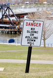 danger sign on lake Stock Photo