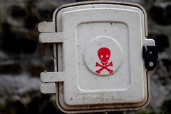 Danger sign of light box placed in the parks in India royalty free stock photos