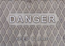 Danger sign. Metal danger sign with keep clear message royalty free stock images