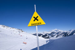 Danger sign in mountain Stock Photography