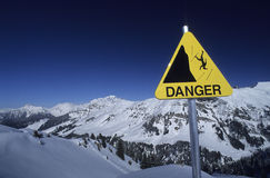 Danger sign in mountain Stock Photo
