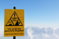 Danger sign in Mountains Stock Images