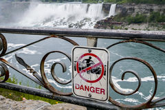 Danger sign near Niagara waterfall Stock Image