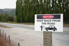 Danger sign. At New Zealand road Stock Images