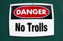 Danger No Trolls. Danger sign of No Trolls Royalty Free Stock Images