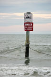Danger Sign in Ocean Stock Photos